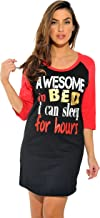 Just Love 100% Cotton Sleep Dress for Women Baseball Sleeve Nightshirt