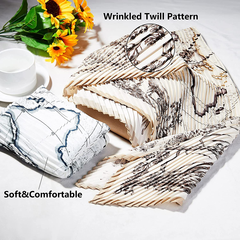 2 Pack Head Scarf for Women | 35'' Silk Like Scarf with Wrinkled Twill Diamond-shape | 2021 Fashion Animal Plant Print Shawl Wrap with Gift Box(Khaki+Black)