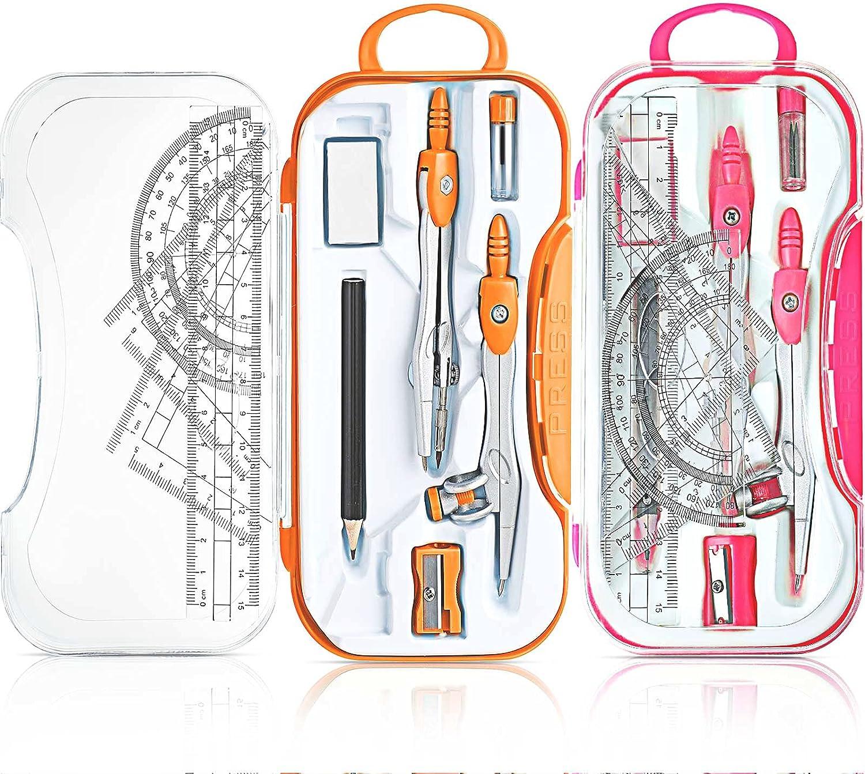 2 Sets Math Geometry Kit, 10 Pieces Per Set Student Compasses, I