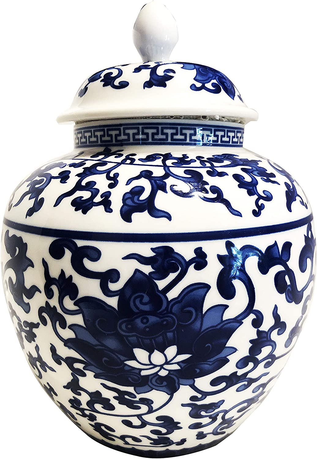 Ancient Chinese Style Blue and White Porcelain Helmet-shaped Temple Jar.Large size lotus pattern