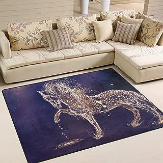 LORVIES Water Horse Drops Area Rug Carpet Non-Slip Floor Mat Doormats for Living Room Bedroom 80 x 58 inches