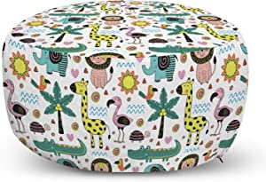 Lunarable Tropical Ottoman Pouf, Jungle Animals Pattern with Giraffe Toucan Lion and Elephant in Scandinavian Style, Decorative Soft Foot Rest with Removable Cover Living Room and Bedroom, Multicolor