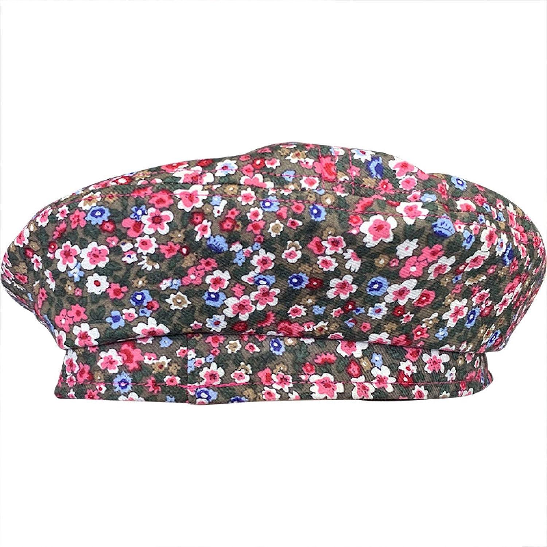 Womens Floral Cotton Berets Vintage Chic Flat Top Painter Hats Adjustable Versatile Artist Hat for Ladies Female