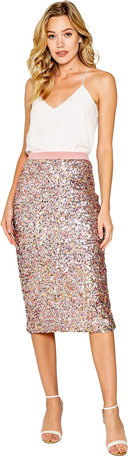 LAVENDER BROWN アウトレット☆送料無料 Stretch Sequin 捧呈 Midi Skirt Zip with Back