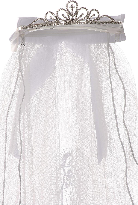 Girls first communion veil with Virgin Mary on the veil wedding bridal baptism