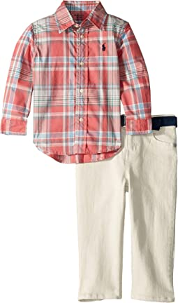 Poplin Shirt, Belt and Jeans Set (Infant)