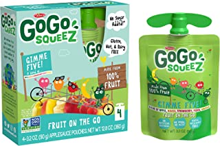 GoGo squeeZ Applesauce, GIMME 5, 3.2 Ounce (4 Pouches), Gluten Free, Vegan Friendly, Unsweetened Applesauce, Recloseable, ...