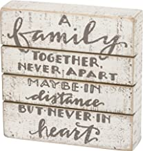 Primitives by Kathy Hand Lettered Slat Wood Box Sign, 7 x 7-Inches, A A Family Together Never Apart
