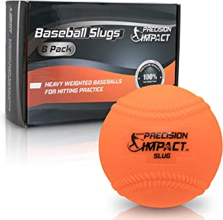 Precision Impact Slugs with Laces: Heavy Weighted 15oz Baseballs for Hitting; with 1-Year Warranty (6-Pack)
