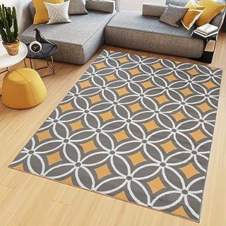 Tapiso Maya Tapis De Salon Chambre Ado Design Moderne Orange Gris Blanc  Losanges Géométrique Mosaïque Fin