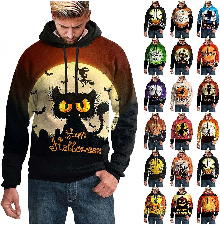 Halloween Hooded Tops for Men Novelty 3D Digital Print Sweatershirts Funny Pumpkin Skull Graphic Pullover Hoodies