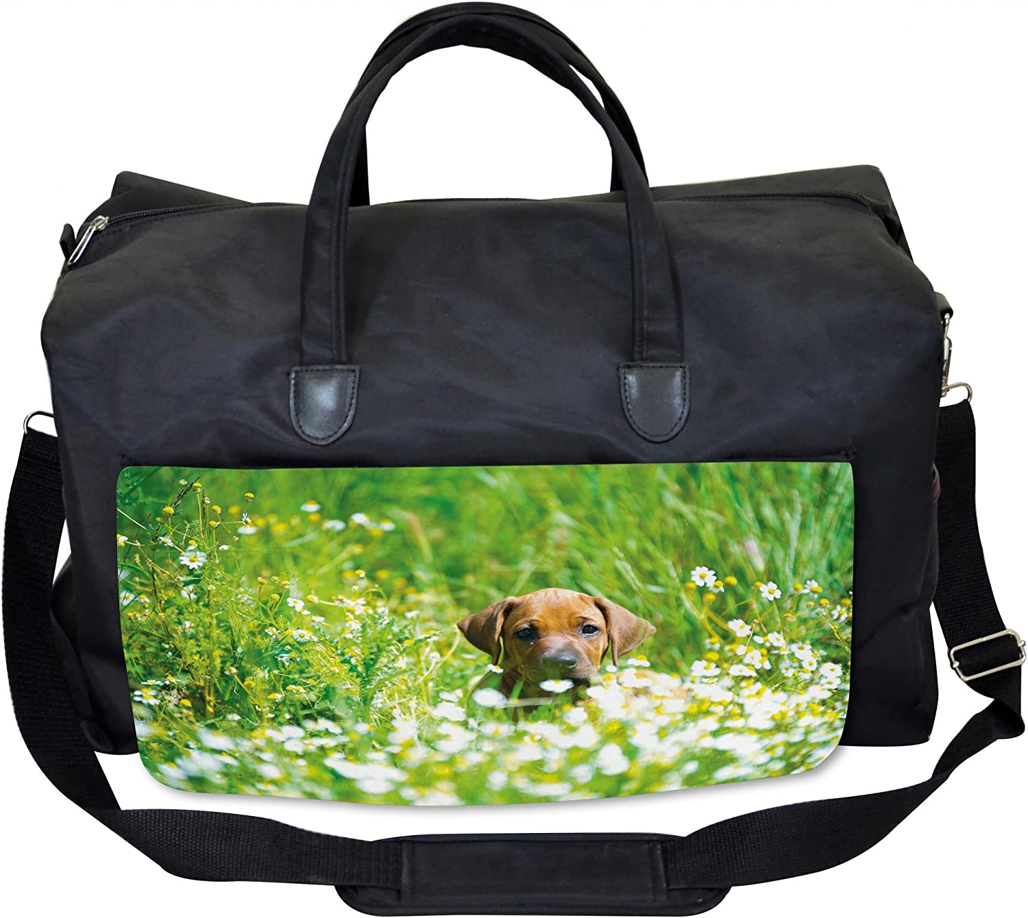 Lunarable Cute Gym Bag, Rhodesian Ridgeback in Field, Large Weekender Carryon