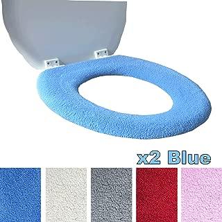 Medipaq Toilet Seat Cover - Super Warm Fleece - Retaining Ring - Universal Fit - Machine Washable 2X Blue