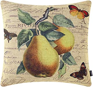 TRENDIN Throw Pillow Cover 18x18 Inch Vintage Fruit Pear and Butterfly Cushion Case for Sofa Couch Home Decor Square Frenc...