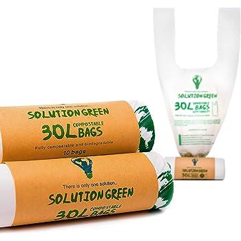 Solution Green | 30 Litri Sacchetti Biodegradabili Con e Senza Maniglie [6L, 10L, 50L] Per Pattumiera Umido Da Cucina | Compostabili e Organici per Rifiuti Organici e Rifiuti Generali