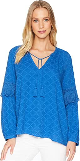 Split-Neck Blouson Sleeve with Fringe