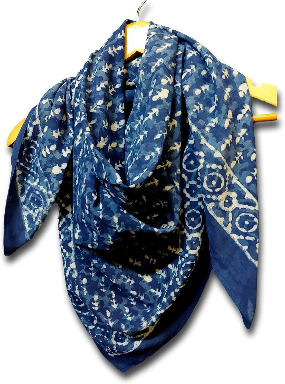 Large Cotton Scarfs for Women Lightweight Soft Sheer Neck Scarf, Head Scarf, Block Print Dabu Summer Floral Scarf Bandanas for Women Black Fashion Scarf Stole Wrap (Indigo Blue, 20 x 20 inches)