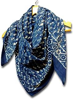 Large Cotton Scarfs for Women Lightweight Soft Sheer Neck Scarf, Head Scarf, Block Print Dabu Summer Floral Scarf Bandanas...