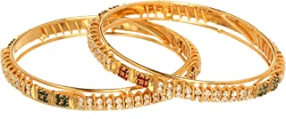 Bindhani Traditional Gold Plated Bridal Red Green Rhinestone South Indian Wedding Bangle Set Jewelry For Women