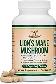 Lions Mane Mushroom Capsules (Two Month Supply - 120 Count) Organic and Vegan Supplement - Nootropic for Brain Health and Growth, Immune Booster, Made in The USA by Double Wood Supplements