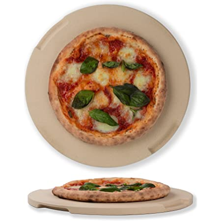 """Pizza Stone 12.6"""" Round Baking & Grilling Stone, Perfect for Oven, BBQ and Grill. Innovative Double - faced Built - in 4 Handles Design"""