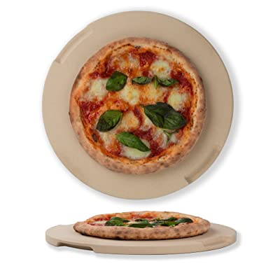 ROCKSHEAT Pizza Stone 12.6  Round Baking & Grilling Stone, Perfect for Oven, BBQ and Grill. Innovative Double - Faced Built - in 4 Handles Design