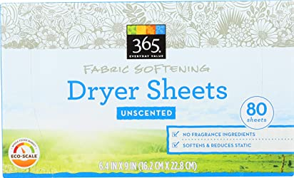 365 Everyday Value, Fabric Softening Dryer Sheets, Unscented, 80 ct