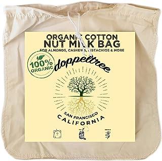 (1-Pack) Large 12in x 12in Premium Organic Cotton Reusable Nut Milk Bag - Designed in San Francisco - Fine Mesh Strainer f...