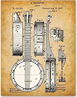 Banjo - 11x14 Unframed Patent Print -Makes a Great Gift Under $15 for Banjo Players and Musicians