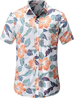 JEETOO Men's Pineapple Short Sleeve Casual Aloha Hawaiian Shirt