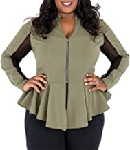 Poetic Justice Plus Size Curvy Women's Olive Peplum Jacket Sheer Panel Sleeves