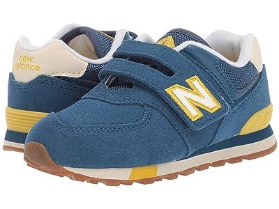 New Balance Kids IV574v1-USA (Infant/Toddler) (NB Dark Blue/Chartreuse) Kids Shoes