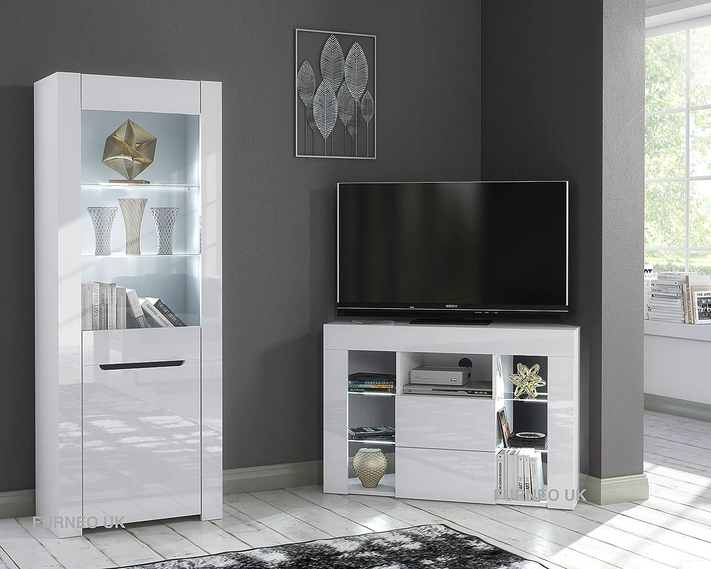Furneo High Gloss & Matt White Living Room Set Corner TV Stand ...