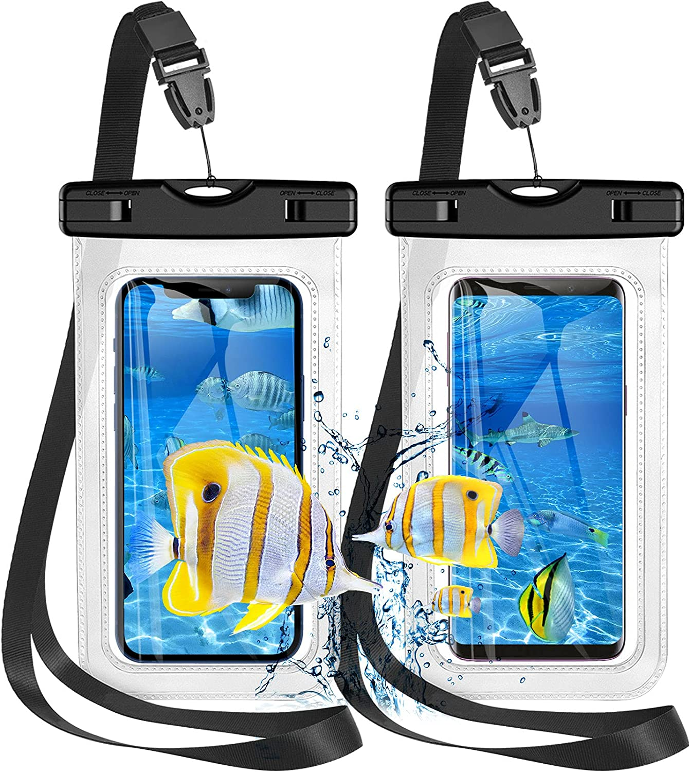 Waterproof Phone Pouch,2 Pack Universal Waterproof Phone Case, IPX8 Waterproof Phone Holder Dry Bag Compatible with iPhone 12 Pro Max/12pro/12/Galaxy S21 Ultra/S21+ UP to 7'', Beach Bag,2 Lanyards