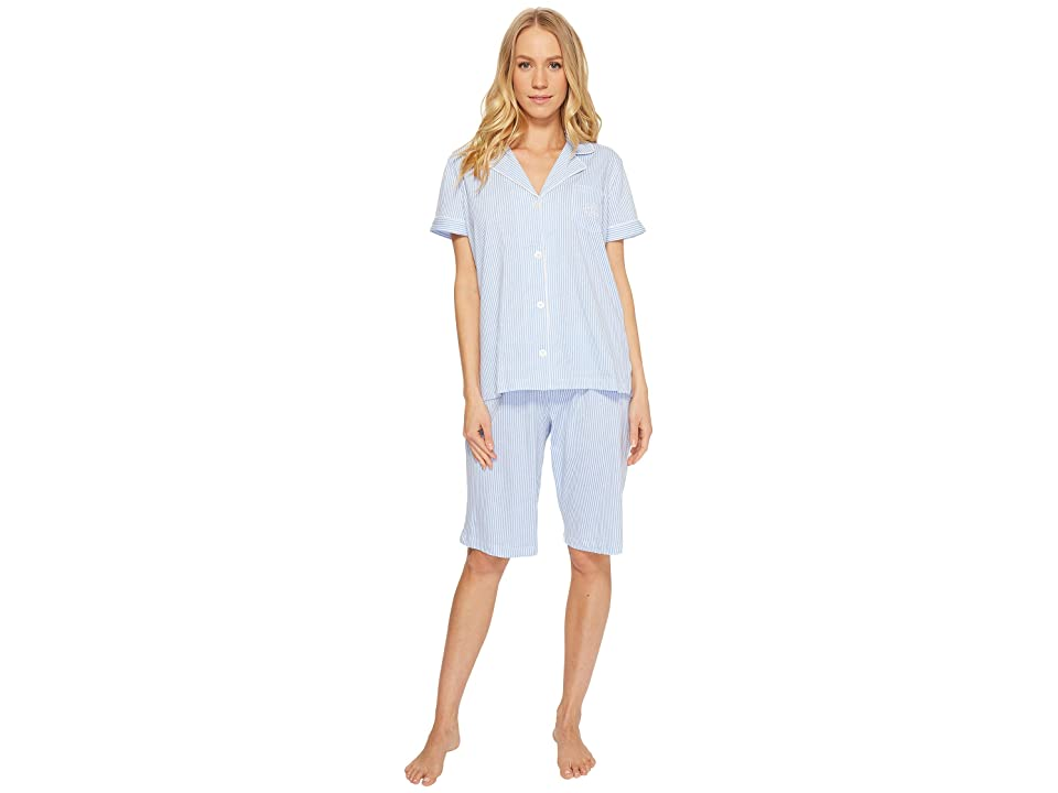 LAUREN Ralph Lauren Short Sleeve Notch Collar Bermuda PJ Set (French Blue/White Stripe) Women