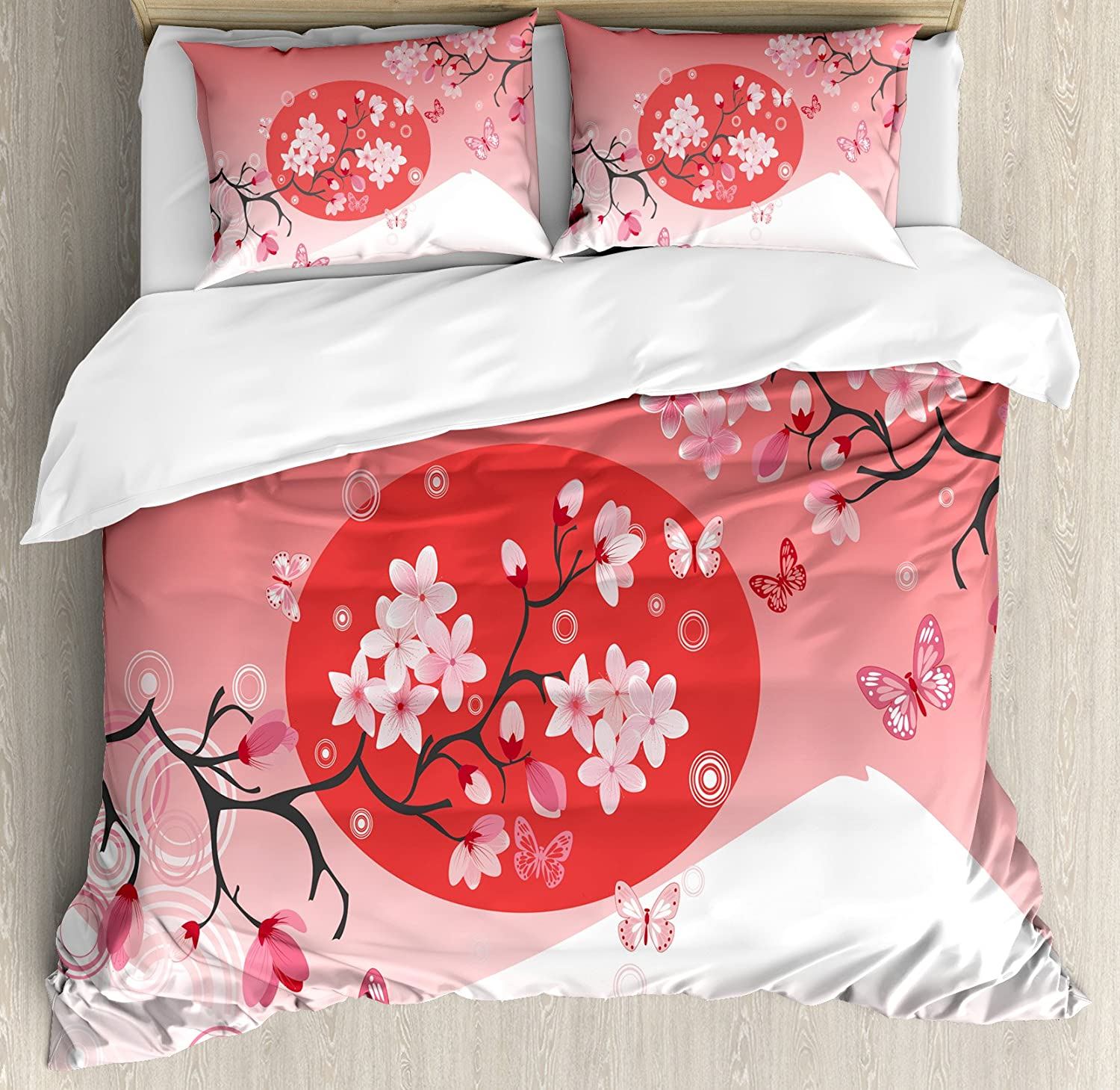 Ambesonne Asian Duvet Cover Set Over Branches Cherry Opening large release sale T Ranking TOP12 Japanese