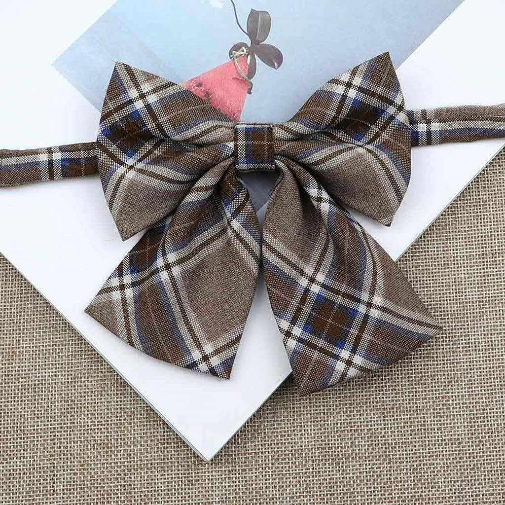 LQGSYT Silk Cotton Bowties Fashion Cute College Style Striped Plaid Ladies School Girl Student Uniform Butterfly Knot (Color : C)