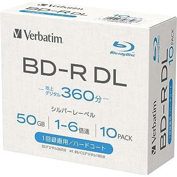 【Amazon.co.jp限定】Verbatim バーベイタム 1回録画用 ブルーレイディスク BD-R DL 50GB 10枚 1-6倍速 シルバーレーベル 5mmプラケース インデックスカード付き VBR260R10L-A