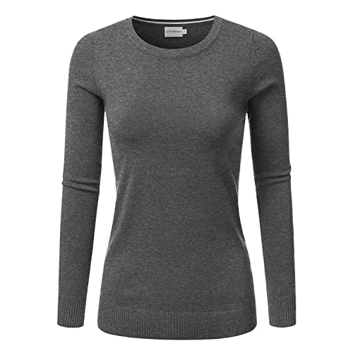 JJ Perfection Women s Soft Long Sleeve Round Neck Pullover Sweater a0665e2793
