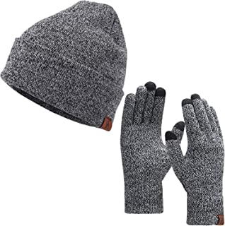 Winter Warm Beanie Hat Touchscreen Gloves Set, Soft Skull Cap Gloves Set for Men and Women with Warm Knit Fleece Lined