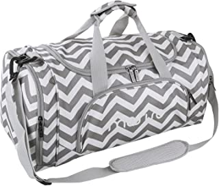 MOSISO Polyester Fabric Foldable Travel Luggage Multifunctional Duffels Lightweight Shoulder for Men/Ladies Gym Bags, Sports, Vacation, Chevron Gray