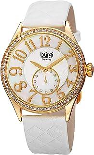 ساعة كوارتز بعرض انالوج وسوار من الجلد للنساء من بورغي، BUR141WTG