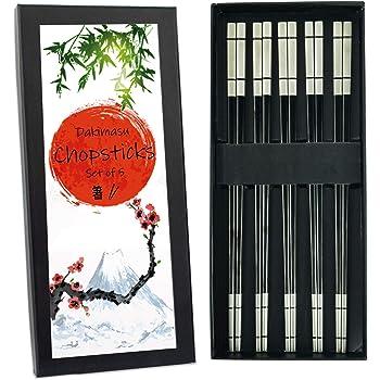 DAKIMASU Chopsticks - 5 pares - Palillos Japoneses de acero ...