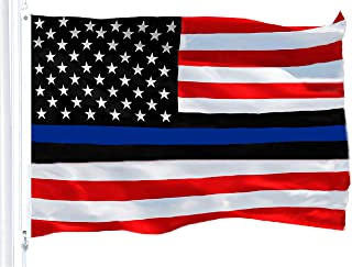 G128 - Police Blue Lives Matter Flag 150D Quality Polyester 3x5 ft Printed Brass Grommets Flag Indoor/Outdoor - Much Thicker More Durable Than 100D 75D Polyester (Red Blue Black Line)