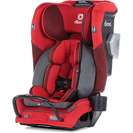 Diono Radian 3QXT 4-in-1 Rear and Forward Facing Convertible Car Seat, Safe Plus Engineering 4 Stage Infant Protection, 10 Years 1 Car Seat, Slim Design - Fits 3 Across, Red Cherry