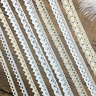Cotton Ribbon Vintage Lace Trims Bridal Wedding Scalloped Edge Crochet Lace DIY Sewing Craft Supply 18 Yards Assorted (2 Yard Each)
