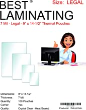 Best Laminating - 7 Mil Clear Legal Size Thermal Laminating Pouches - 9 X 14.5 - Qty 100