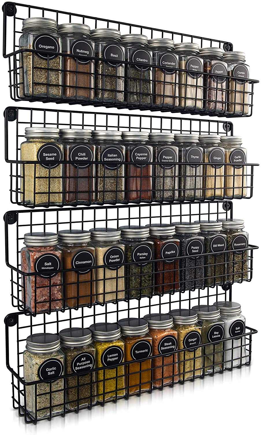 Farmhouse Style Hanging Spice Racks For Wall Mount - Easy To Install Set of 4 Space Saving Racks - The Ideal Seasoning Organizer For Your Kitchen