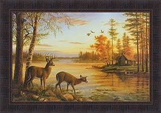 Quiet Evening by Mary Pettis 24x34 Deer Buck Doe Lake Sunset Log Cabin Framed Art Print Wall Décor Picture