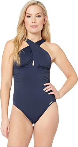 Urban Gypsy High Neck Shirred Cross Front One-Piece